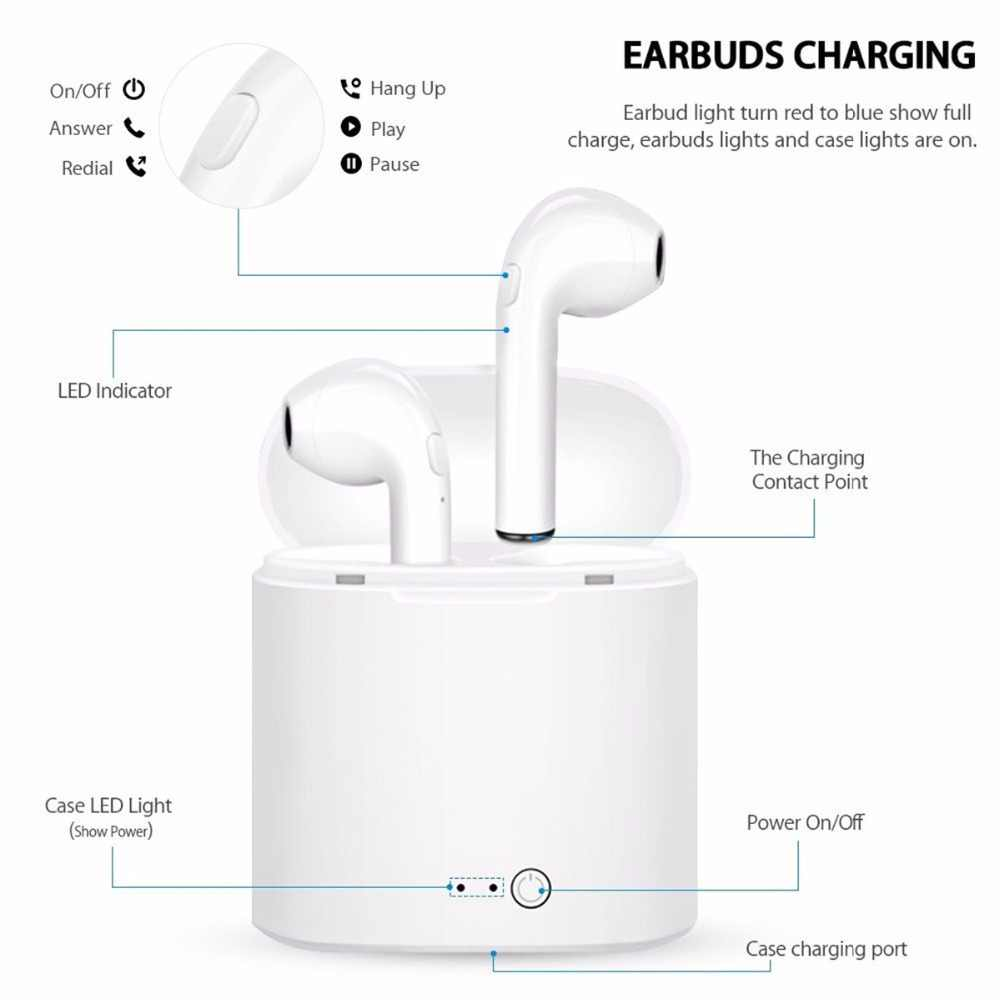 Bluetooth Earphone i7s Sport Earpiece stereo Earphones Earbuds with Charging Box Handsfree mini earbuds wireless bluetooth 5.0