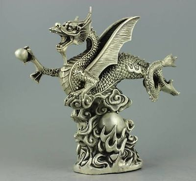 Collectible Decorated Handwork Tibet Silver fly dragon StatueCollectible Decorated Handwork Tibet Silver fly dragon Statue