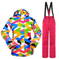 Зимние Для женщин лыжный костюм с цветочным принтом лыжная куртка + брюки женские сноуборд комплект Водонепроницаемый Теплая зимняя одежда...