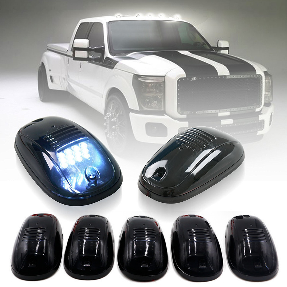 5 x Smoked Covers Cab Roof Running White 12-LED Car Cab Roof Marker Lights for 03-16 DODGE RAM Front & Rear Holes