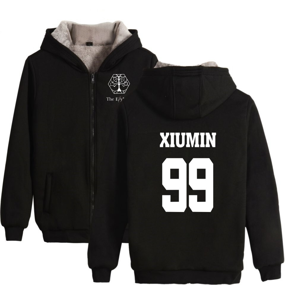 EXO Planet 4 The ElyXiOn Album Concert Zipper Women Kpop Hoodies Sweatshirt Women Zipper Winter Thicken Cloth