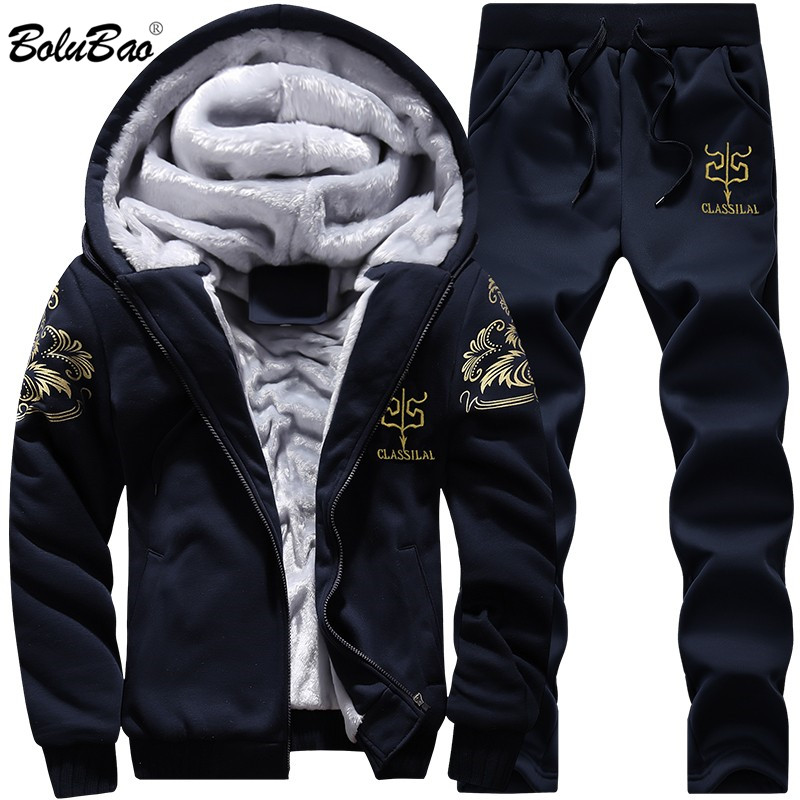 BOLUBAO Men Set Sports Suits Tracksuit Winter Warm Zipper Autumn Sportswear Jackets + SweatPants Male 2 Pieces Set