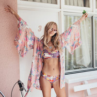 Boho Floral Print Summer Kimono Blouses V Neck Flare Sleeve Loose Slash Outerwear Summer Beach Holiday Cardigan Tops Female