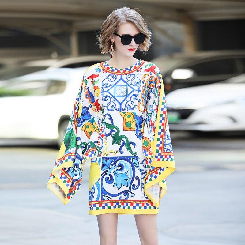 À Robe Nouvelle Haute Élégant 2018 Manches La Imprimé Plage De Femmes Mode souris Créateur Bleu Chauve Floral Casual Qualité Vacances tEqExT
