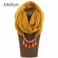Jzhifiyer Dripping Pendant Ring Shawl Jewelry Muslim Hijab Ring Scarf Viscose Linen Soft Plain Scarfs Charm