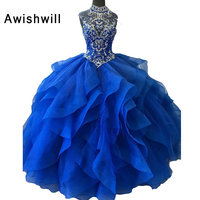 Royal Blue Quinceanera Dresses Ball Gown 2020 Crystal Beadings Organza Sweet 16 Dresses Real Pictures Elegant Debutante Gowns
