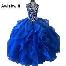 36ad053f601d7 Kraliyet Mavi Quinceanera elbise Balo 2019 Kristal Süpürgelik Organze Tatlı  16 Elbiseler Gerçek Resimler Zarif Debutante Abiye