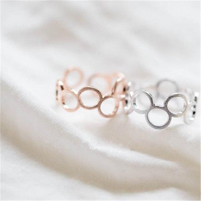 ✓Círculo de la moda costura anillos de oro de color para las ...