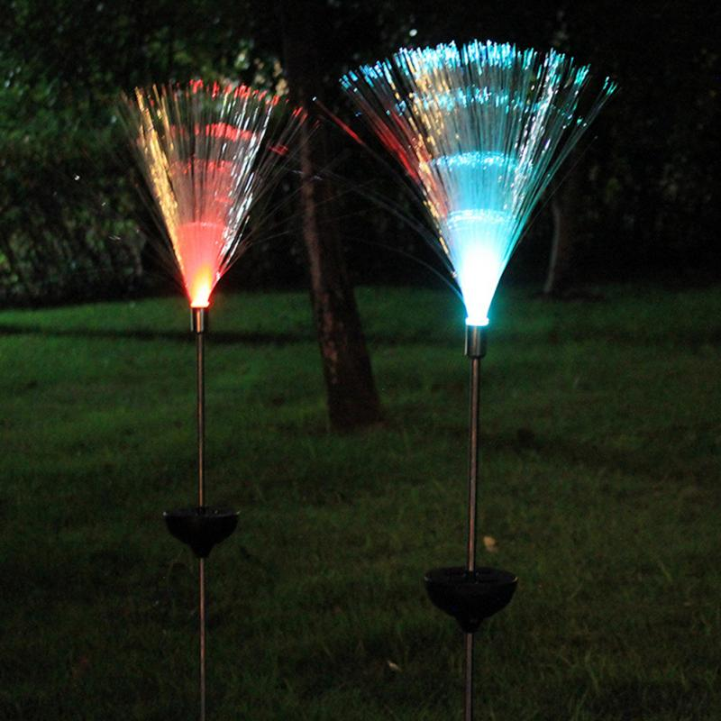 Outdoor Optical Fiber Lawn Light Novelty Solar Powered Color Changing LED Night Garden Decorative Lamp