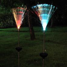 Luz de césped de fibra óptica para exteriores, Lámpara decorativa de jardín nocturna LED con energía Solar que cambia de Color