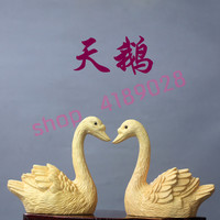 Pure boxwood, solid wood carving Swan modeling accessories, handicrafts accessories