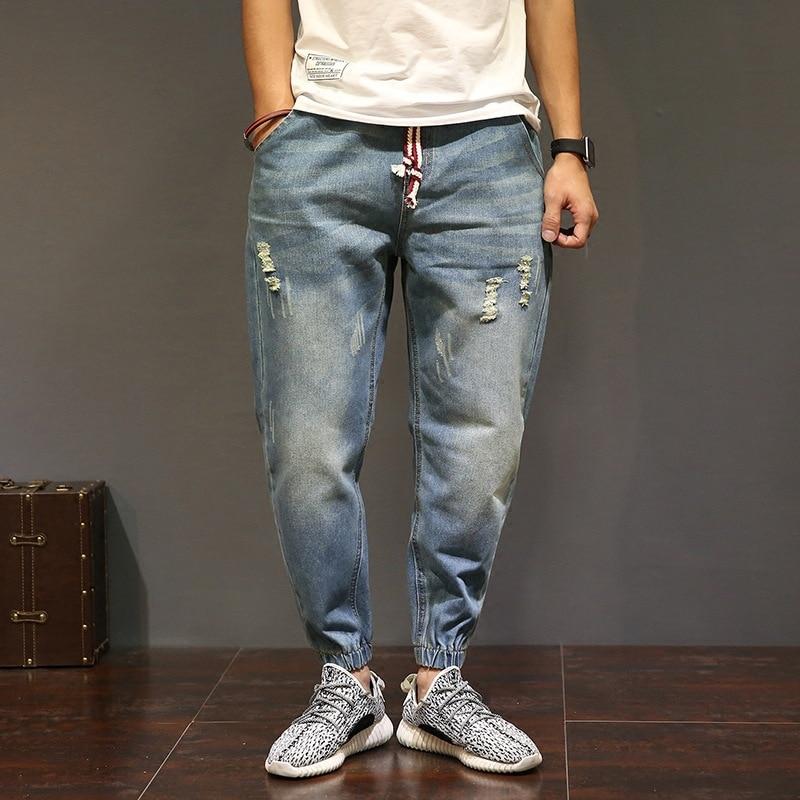 large size Mens biker Jogger Solid color Casual hip hop man Denim ripped trousers Drawstring Elastic