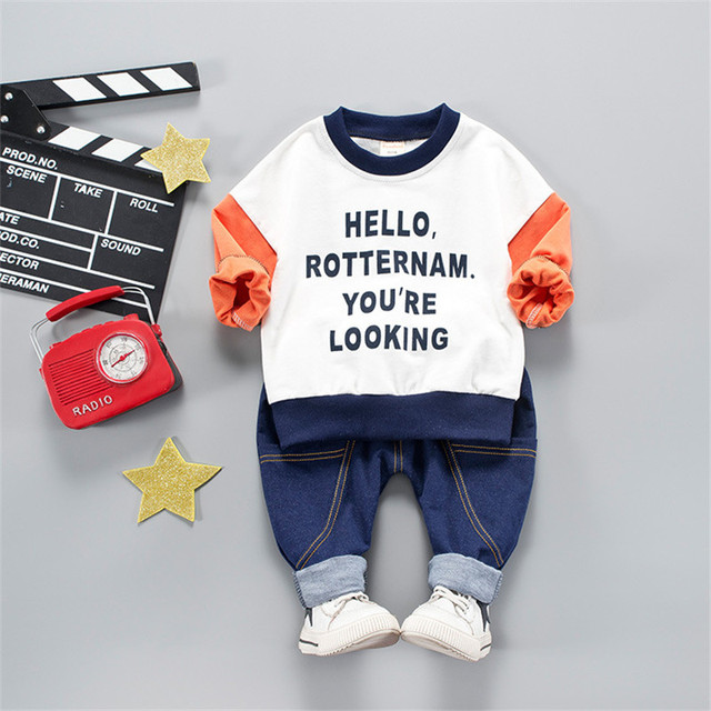 "2-Piece Stylish Letter Print ""Hello Rotternam"" Top with Pants Set for Baby and Toddler Boy"