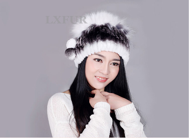 2017 Women Knitted Rex Rabbit Fur Cap with Fox Fur Ball Real Fur Hat Winter Warm Headwear AU00240