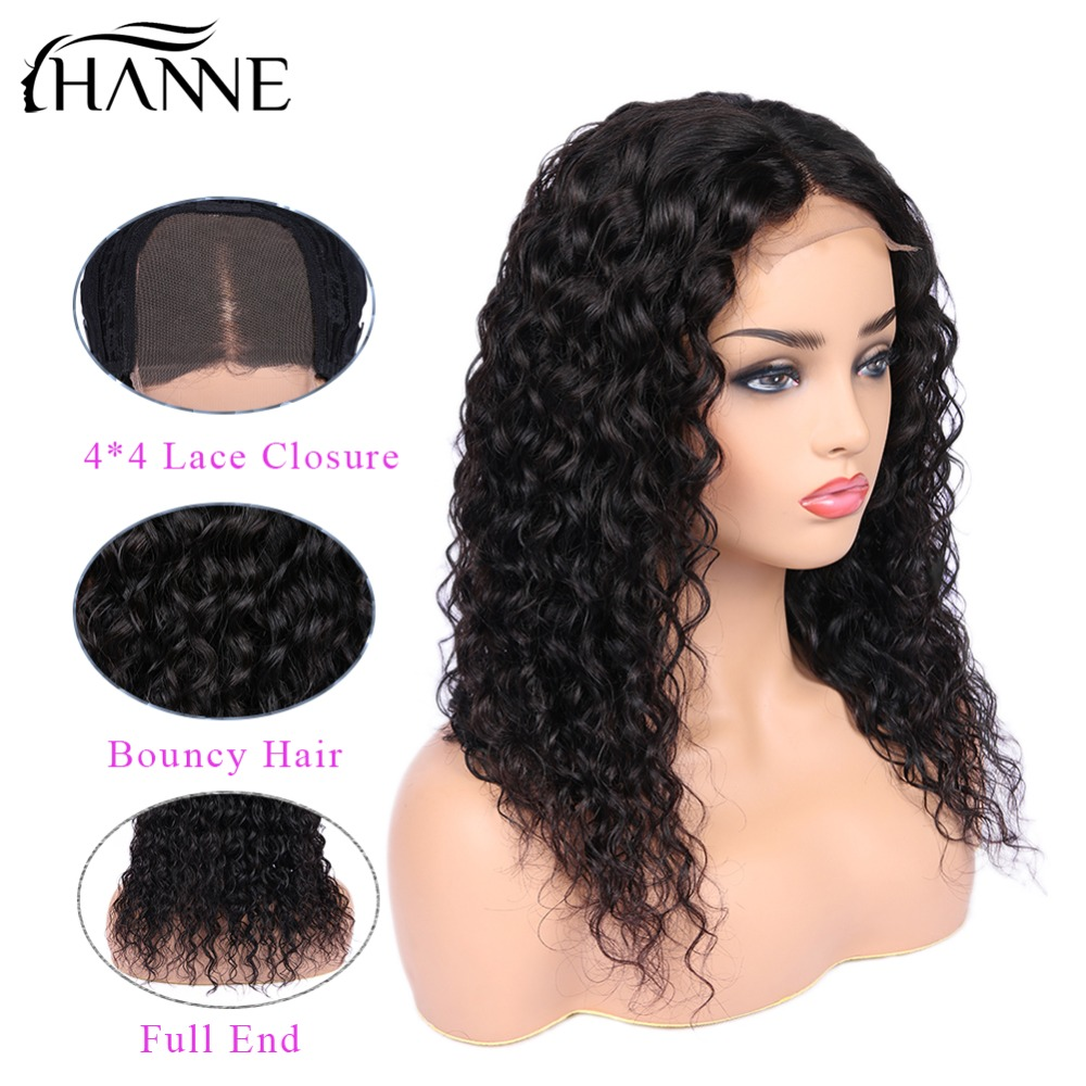 Water Wave 4 4 Brazilian Remy Human Closure Wig Lace Closure Human Hair Middle Part Wig