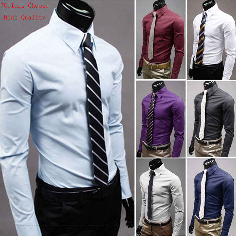7279e0690 Detail Feedback Questions about Luxury Men s Stylish 7 Colors Dress Shirt  Slim Fit Shirts Formal Long Sleeve HOT Plus Size 3XL on Aliexpress.com