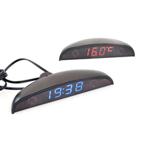 12V Car Interior 3 In 1 Car Clock Voltmeter Thermometer and Voltage Meter Monitor Touch Switch Blue Red Light