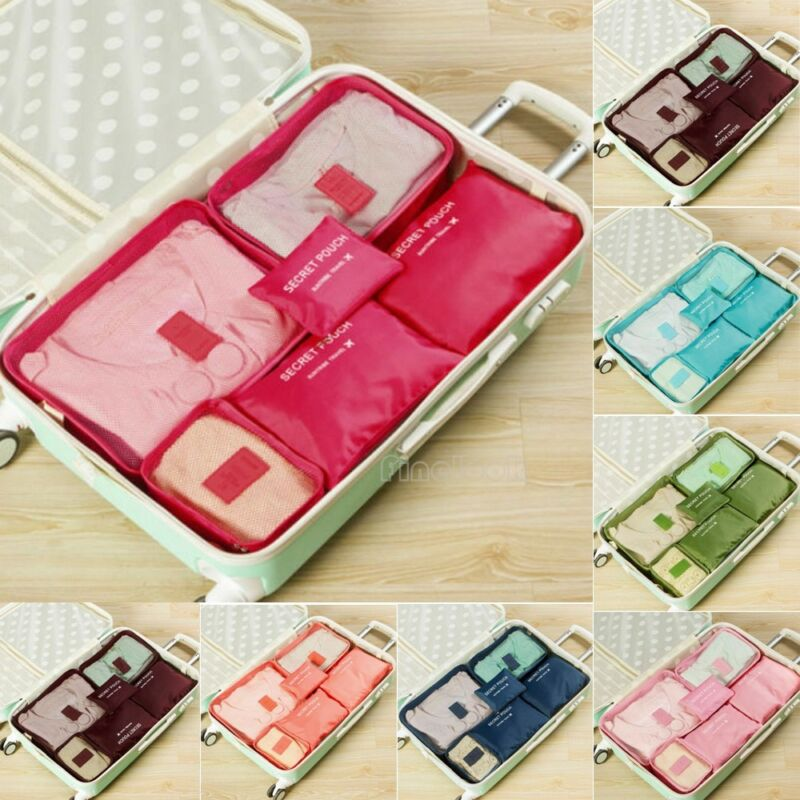 Hot Sell 6Pcs Holiday Waterproof Travel Storage Bags Clothes Packing Cube Luggage Organizer Pouch