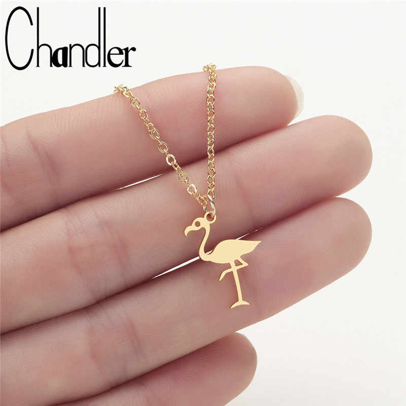 Chandler Stainless Steel Origami Flamingo Necklace & Pendant Bird Animal Jewelry For Ornitolog Party Accessories Geometry Colier