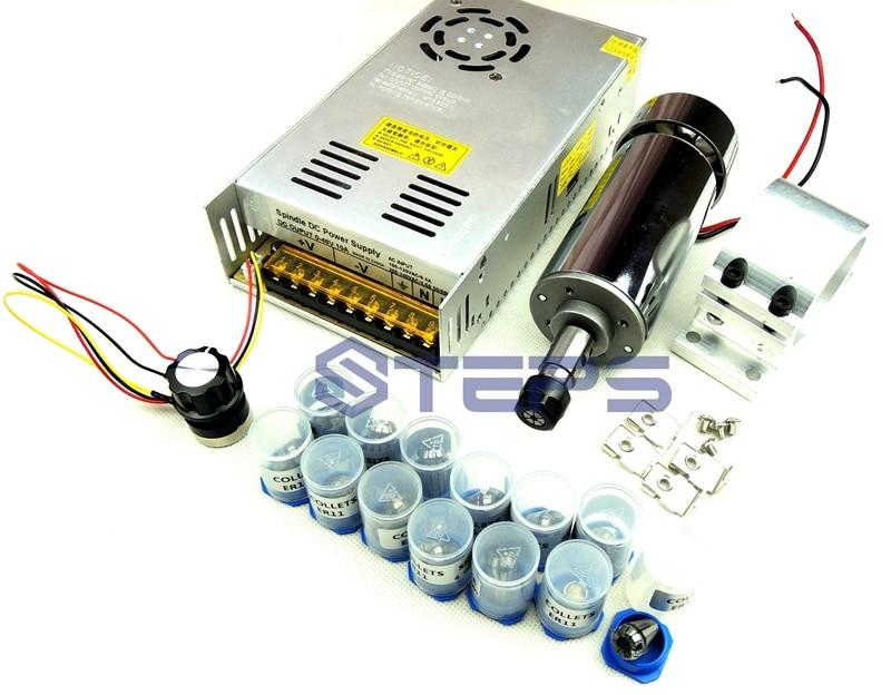 DC12-48V 0.4kw spindle motor ER11 chuck CNC 400W Spindle Motor+ 52mm mount bracket+Power Supply speed governor+13pcs ER11 Chuck