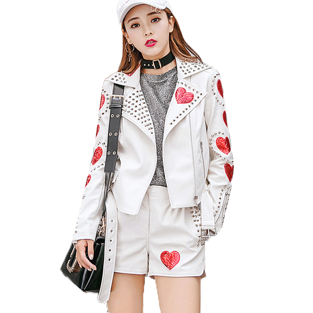 8a96c310e US $77.01 49% OFF Chaqueta Cuero Mujer Ms Jacket Autumn Leather Jacket  Short Women High Quality Leather Lady Sequins Rivets Motorcycle Jackets -in  ...