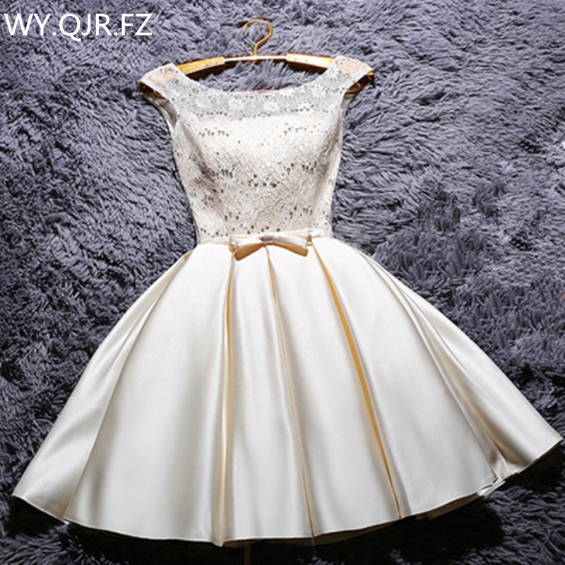 YRPX-XB#Lace Up New Champagne Bridesmaid Dresses Plus Size 2019 Summer Short Grey Red Bride Wedding Party Gown Wholesale Dress
