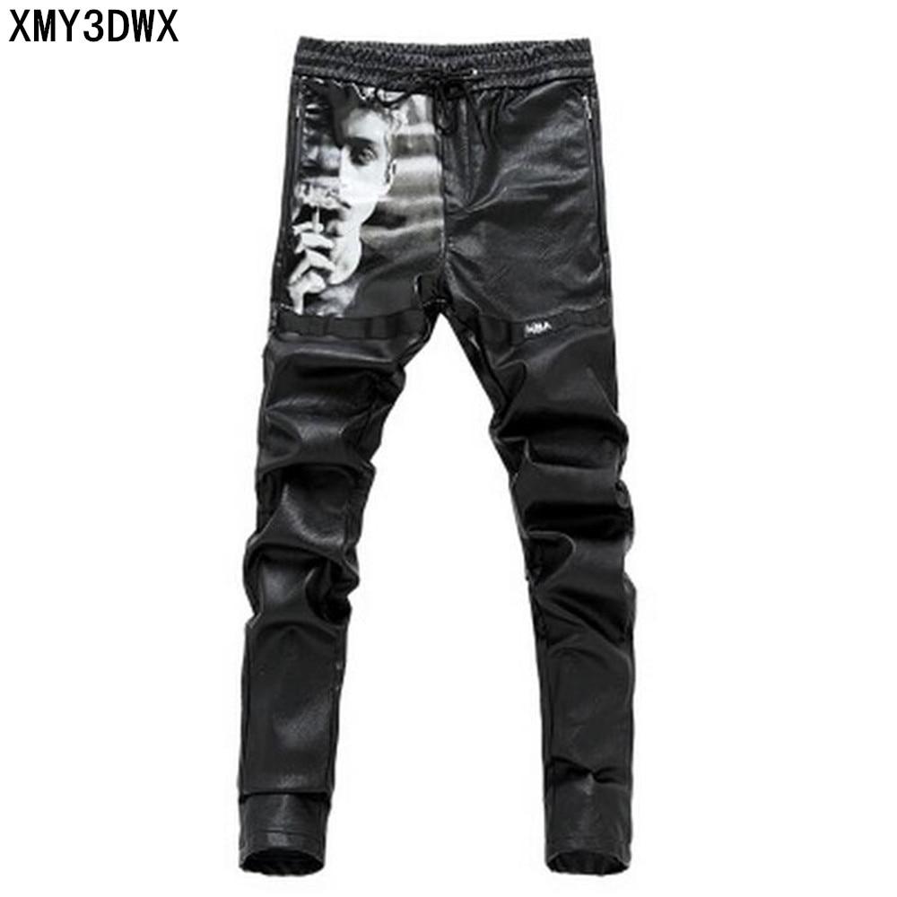 2018 Spring Hip Hop Men's PU Black Leather Pants ...