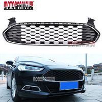 Front Honeycomb Mesh ABS Chrome Black Bumper Grill Grille For Ford Fusion Mondeo 2013 2014