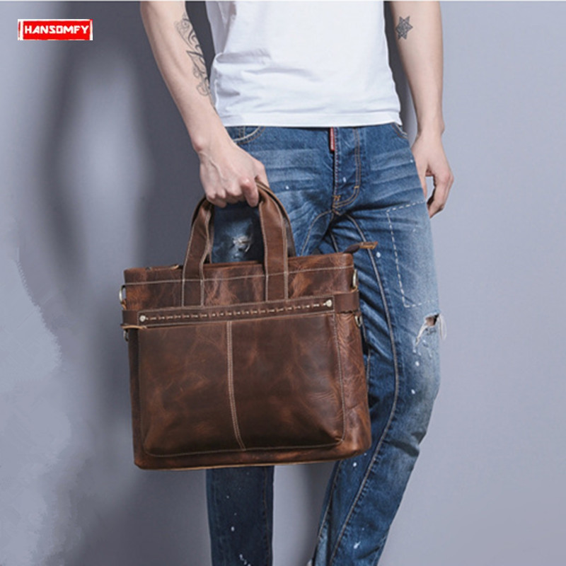 New Retro Men Crazy Horse Leather Briefcases Business Handbag Laptop Shoulder Bag Diagonal Genuine Leather Men's Computer Bag