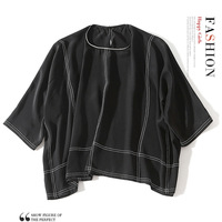 100% Шелковая Летняя женская белая блузка Новинка 2019 черная Офисная Женская модная блузка из шифона топы