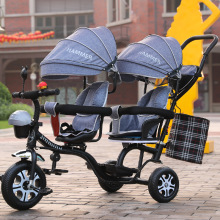 Twin Childrens Tricycle Double Baby Stroller Bicycle Infant Front Seat Can Be Rotated Twins