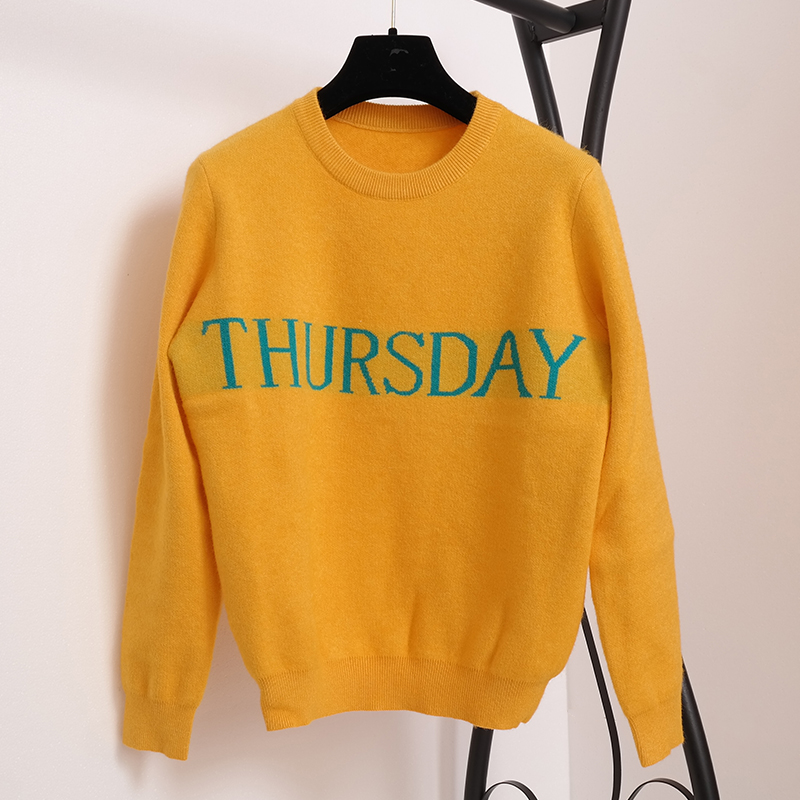 SRUILEE 7 Pieces Set Week Letters Runway Pullover Women Sweater Jumper Monday Tuesday Wednesday Thursday Friday Saturday Sunday ...