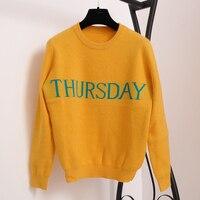 Sruilee 7 шт. набор неделю буквы взлетно посадочной полосы пуловер Для женщин свитер джемпер понедельник вторник среда четверг пятница суббота