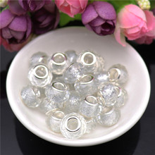 10Pcs White Cut Faceted Glitter Powder Crystal Glass Spacer Beads Charms fit for Pandora Bracelet Necklace DIY Jewelry Making 10pcs hot cut faceted color crystal glass beads fit european bracelet spacer original pandora charm bracelet for jewelry making