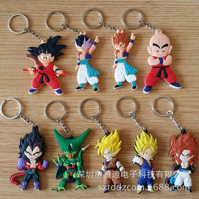 Dragon Ball PVC Keychains Japanese Cartoon Anime  Comic Muten Roshi kuririn Goku Pendant porta chaves mans kid Jewelry gift Toy