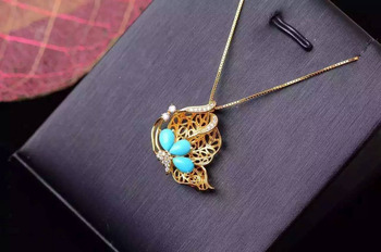Bohemia Elegant Butterfly natural blue turquoise Pendant natural gemstone pendant necklace S925 silver woman party gift jewelery
