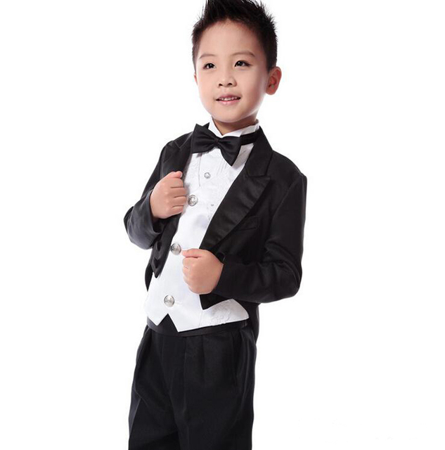 2018 Black Tailcoat Boys Wedding Suits Prince Baby Boy For Toddler Tuxedos Men
