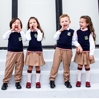 New Spring Kids England Elementary School Student Uniforms For Girls Boy Children Pupil Knit Vest Pleated