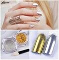 LEARNEVER Nail powder 1 g/caja Polvo Del Espejo 2 unids Oro Plata Pigmento Brillo de Uñas Nail Art Decoración Cromática M02631