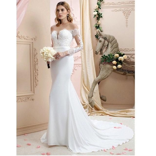 127de1653 LAN TING BRIDE Mermaid Trumpet Plunging Neckline Chapel Train Chiffon  Corded Lace Custom Wedding Dresses with Appliques Buttons
