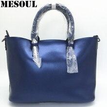 Diseño de lujo de Las Mujeres de Cuero Genuino Bolso de Asas Casual Bolso de Hombro de La Manera Azul de Las Señoras de Gran Capacidad Bolso de Compras Bolsos