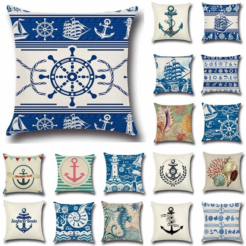 Наволочка для подушки, 1 шт., с изображением лодки, морской волны, синего цвета, из хлопка и льна, для украшения дома, дивана, 40212