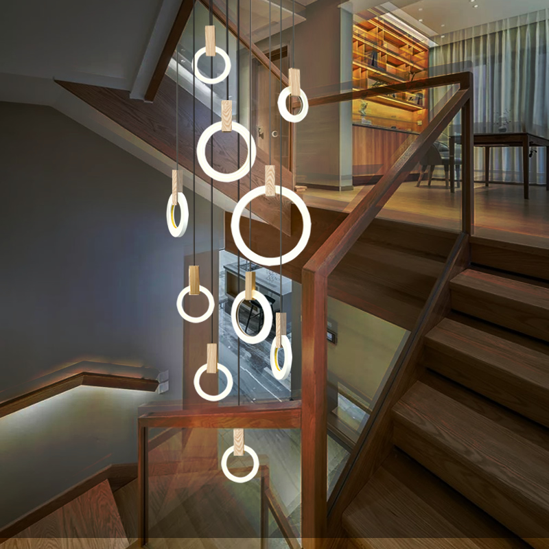 Post Modern Nordic Wood Hanging Light LED Hanglampen Living room Stairs Hotel Bar Circle Round Acrylic