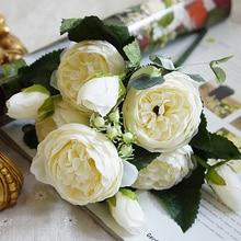 5 Big Heads/Bouquet Peonies Artificial Flowers Silk Bouquet 4 Bud Wedding Home Decoration Fake Peony Rose Flower