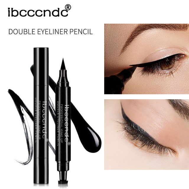 IBCCCNDC Brand Makeup Black Eye Liner Liquid Pencil Quick Dry Waterproof Black Double-ended Makeup Stamps Wing Eyeliner Pencil 4