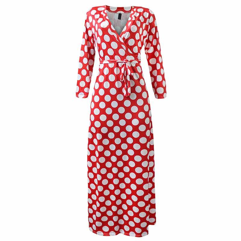4a96a3522 Cloclor Vintage Polka Dot vestido de las mujeres grande más tamaño ...