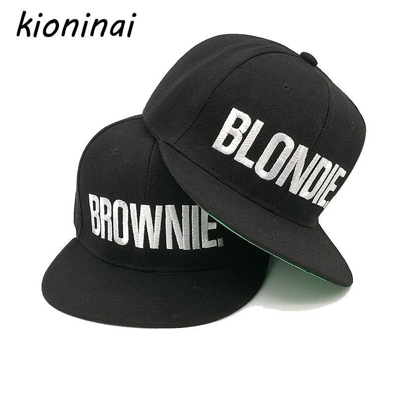 Kioninai 2017 BLONDIE BROWNIE Embroidery Snapback Hat Caps Women Men Girls Baseball Cap Hip-Hop Fitted Cap Gorras Bone Casquette blondie – pollinator 2 lp