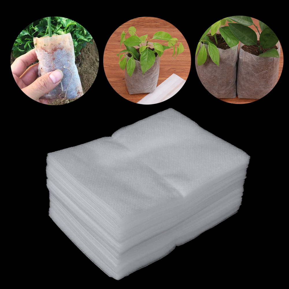 100pcs Degradable Seedlings Lift Bags Fabrics Nursery Pot Flowers Seed Pouch Potted Plant Grow Environmental Protection Supply