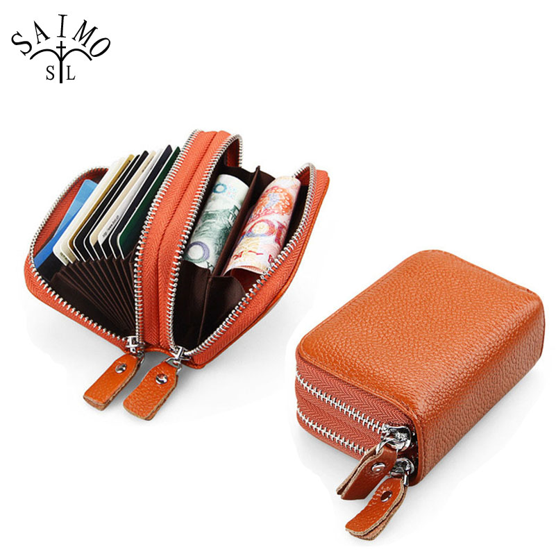 Women RFID Genuine Leather Large Capacity Card Holder Wallet New Fashion Double Zipper Pocket Lady Holder Credit Card Wallet bag
