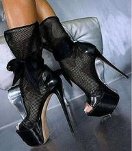 купить Hot Selling Black Lace Mesh Thigh High Stiletto Boots Peep Toe High Platform Lace-up Women Knee High Boots Cut-out Runway Bootie дешево
